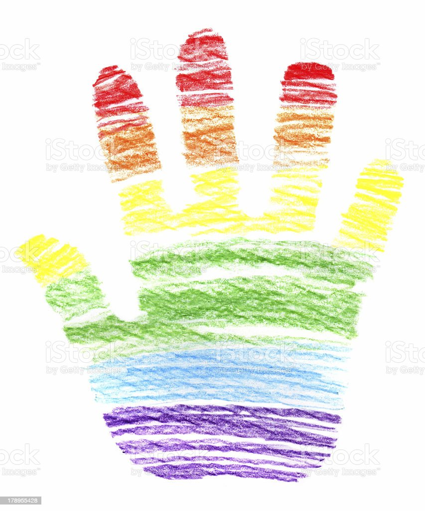 Child's Crayon Drawing of a Rainbow Hand XXLarge royalty-free stock vector art