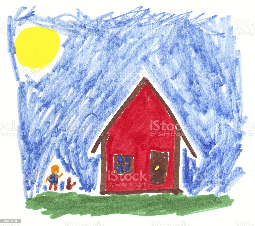 Child's Crayon Drawing of a Red House and Stick Figure vector art illustration