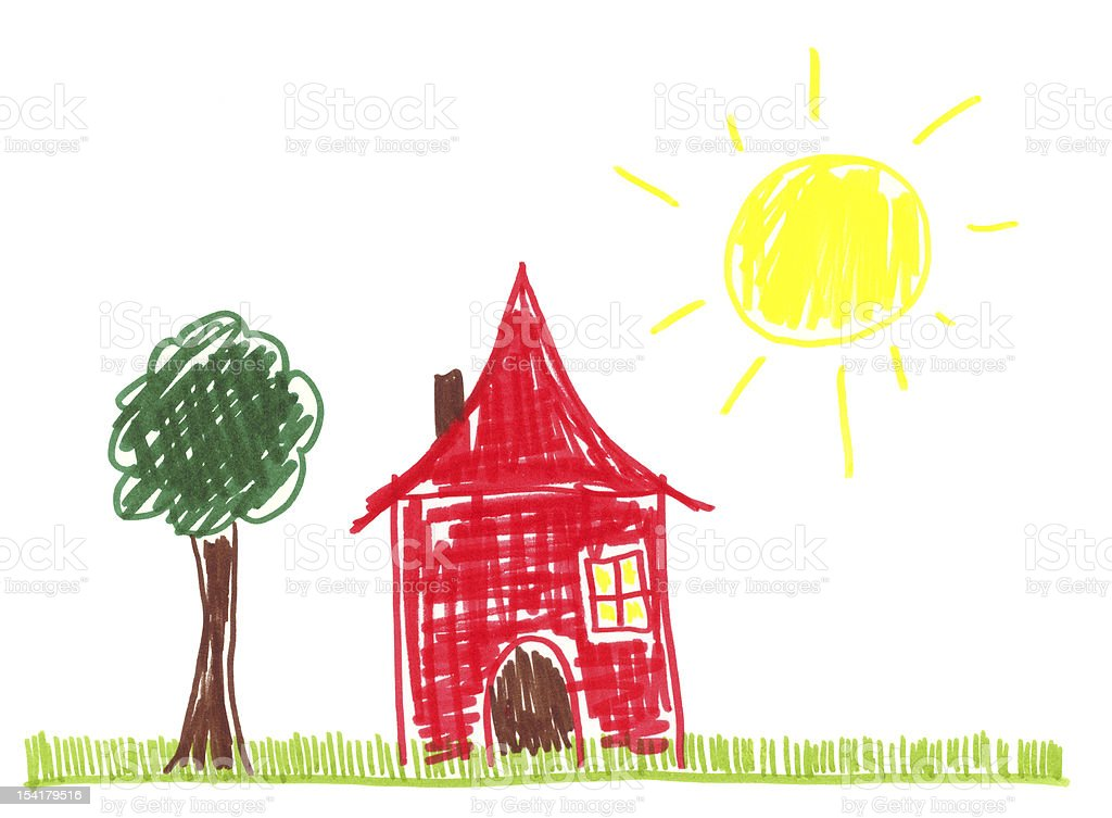 Child's Crayon Drawing of a Red House and Sunshine royalty-free stock vector art