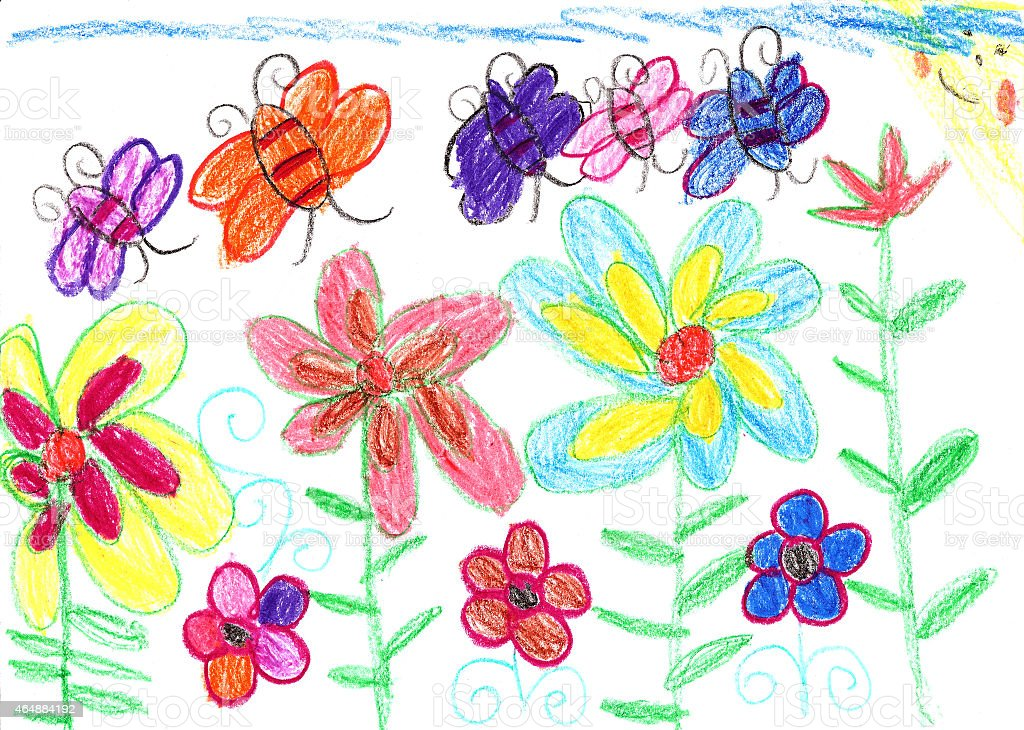 Child's drawing bees and flowers nature vector art illustration