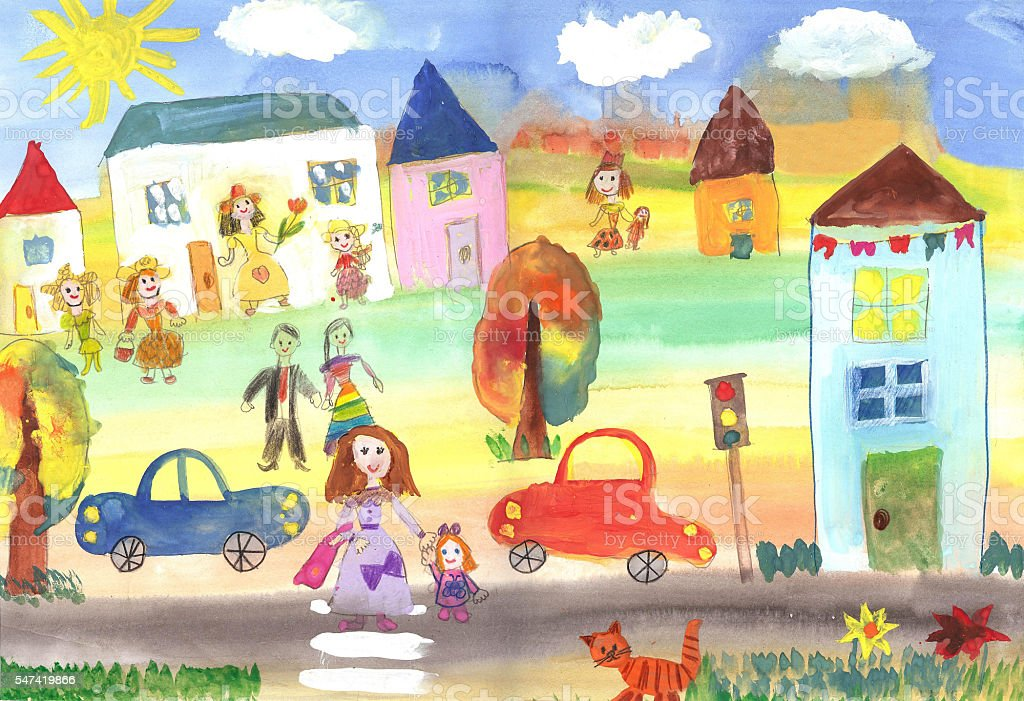 Child's drawing happy family, building, car illustrazione royalty-free