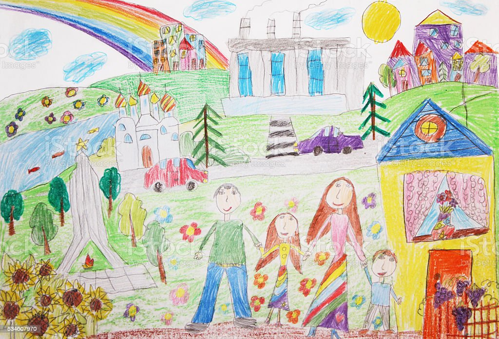 Disegno di bambino felice famiglia con due bambini per una passeggiata illustrazione royalty-free