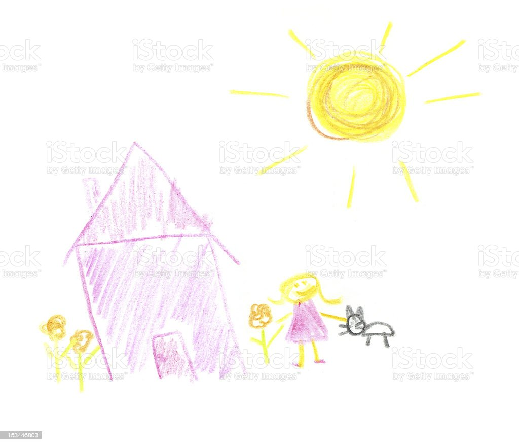 Child's Drawing of a House, Girl, Cat stock photo