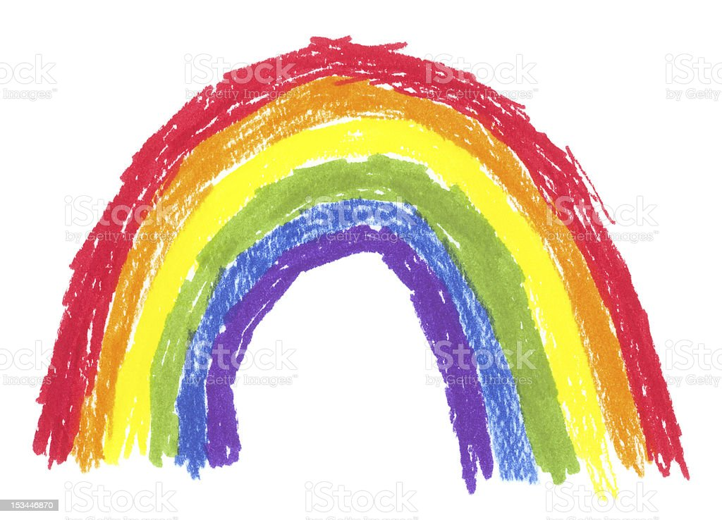 Child's Drawing of a Rainbow vector art illustration
