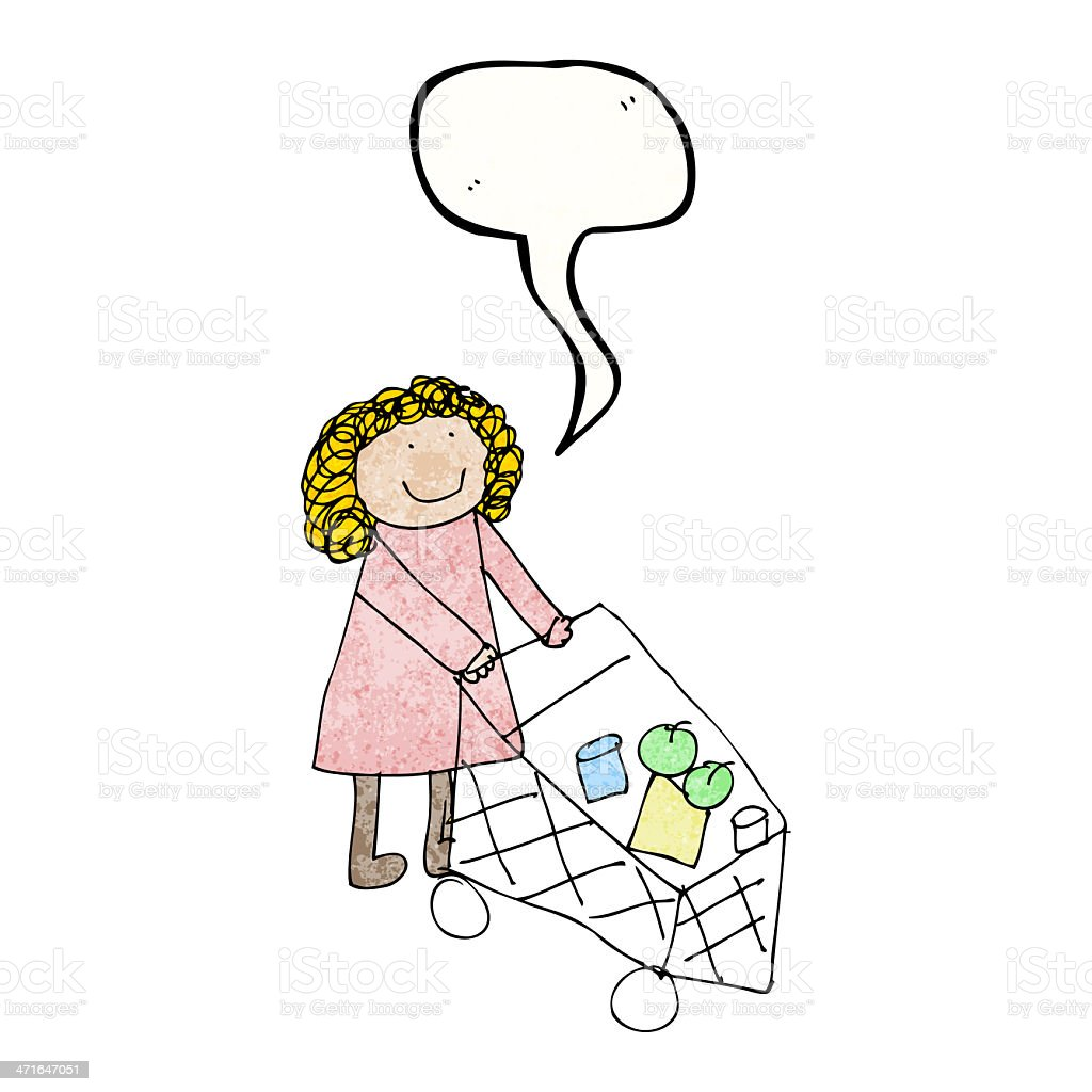 child's drawing of a woman shopping royalty-free stock vector art