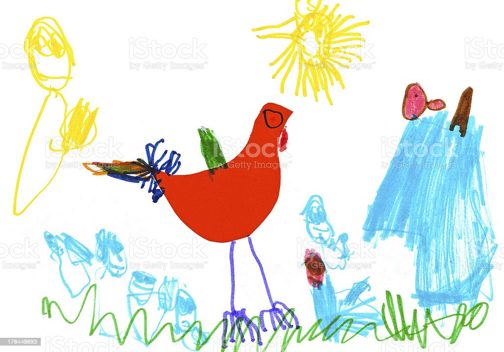 child's drawing - poultry yard vector art illustration