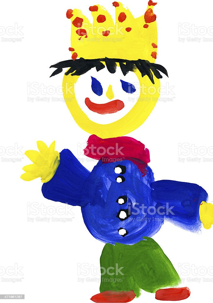 child's drawing. prince with the crown royalty-free stock vector art