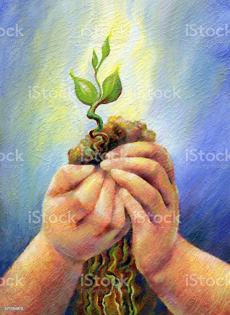 Child's Hands Cradling Small Plant royalty-free stock vector art