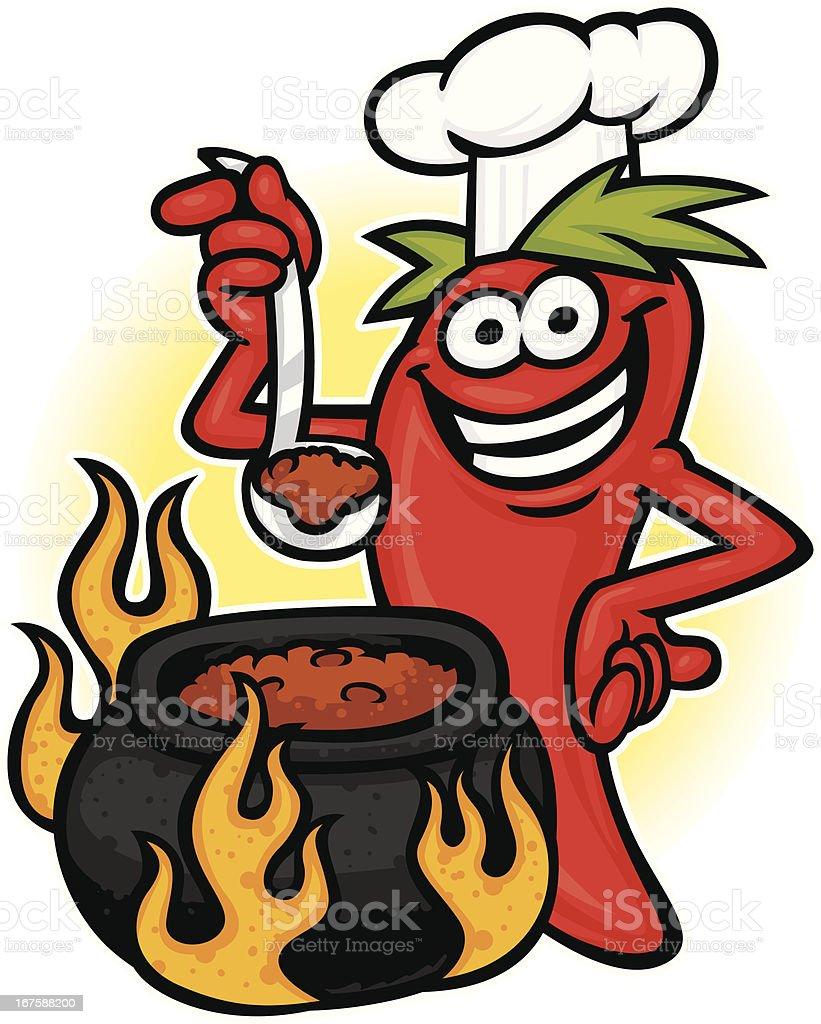 chili chef vector art illustration