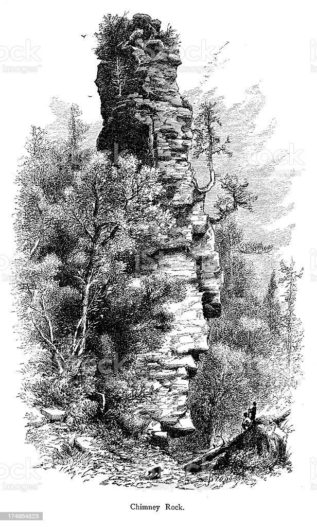 Chimney Rock in Mackinac Island State Park, Michigan vector art illustration