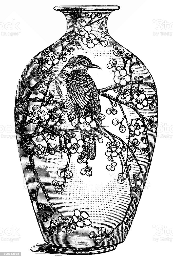 China Antique Vase vector art illustration