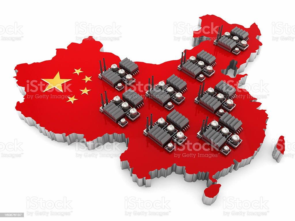 China working vector art illustration