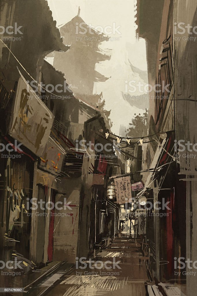 Chinatown alley with traditional Chinese buildings vector art illustration