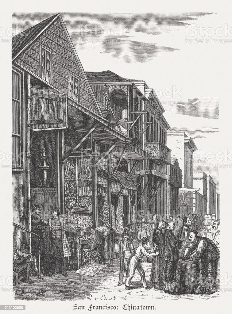 Chinatown in San Francisco, wood engraving, published in 1880 vector art illustration