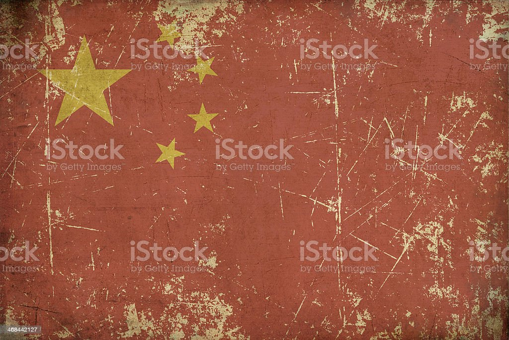 Chinese Aged Flat Flag vector art illustration