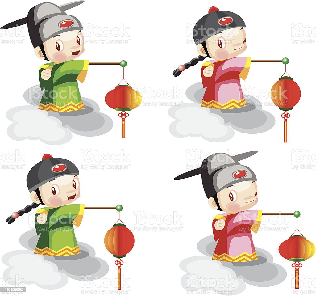 Chinese cartoon with latern vector art illustration