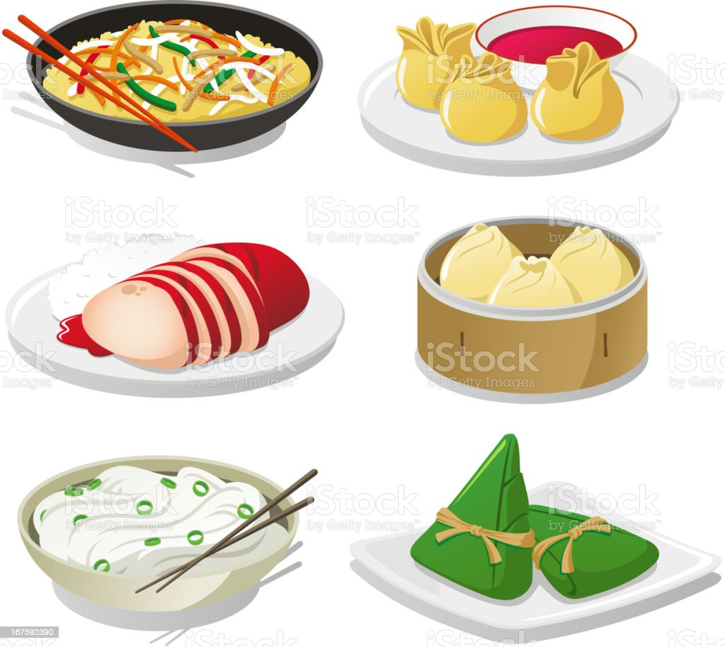 Chinese dishes vector art illustration