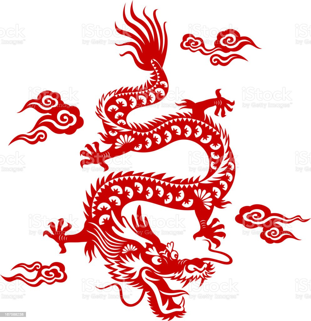 Chinese Dragon Paper-cut Art royalty-free stock vector art