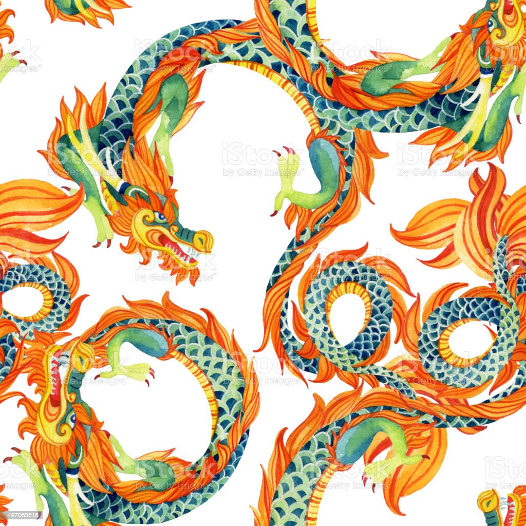 Chinese Dragon seamless pattern. vector art illustration