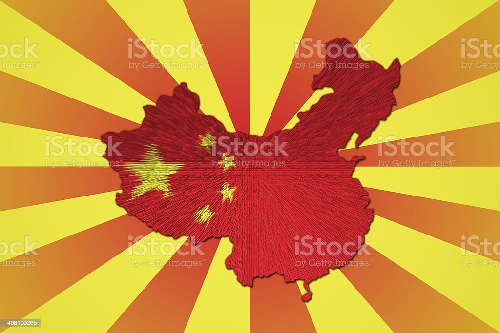 Chinese flag on China map. royalty-free stock vector art