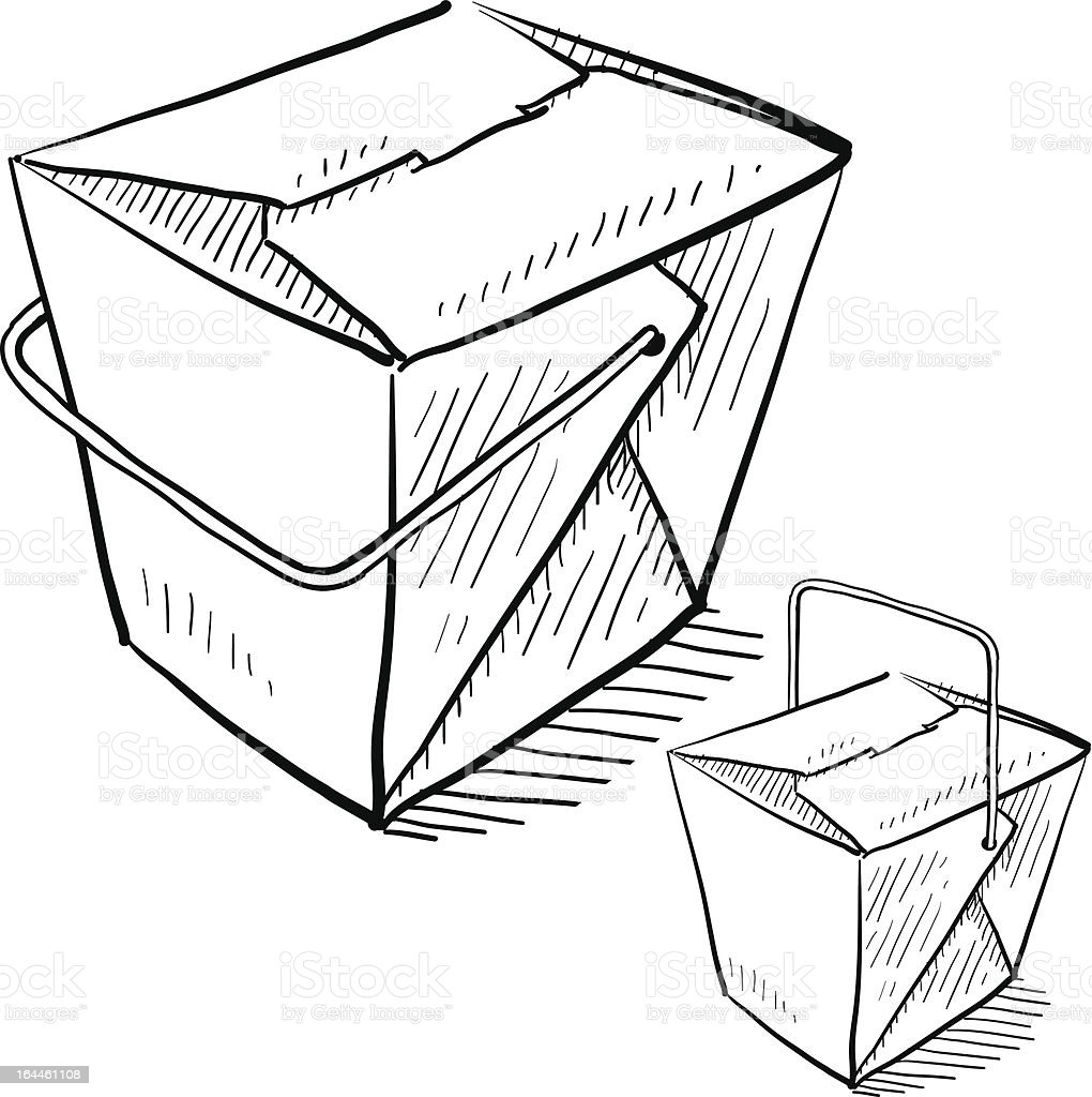 Chinese food takeout boxes sketch vector art illustration