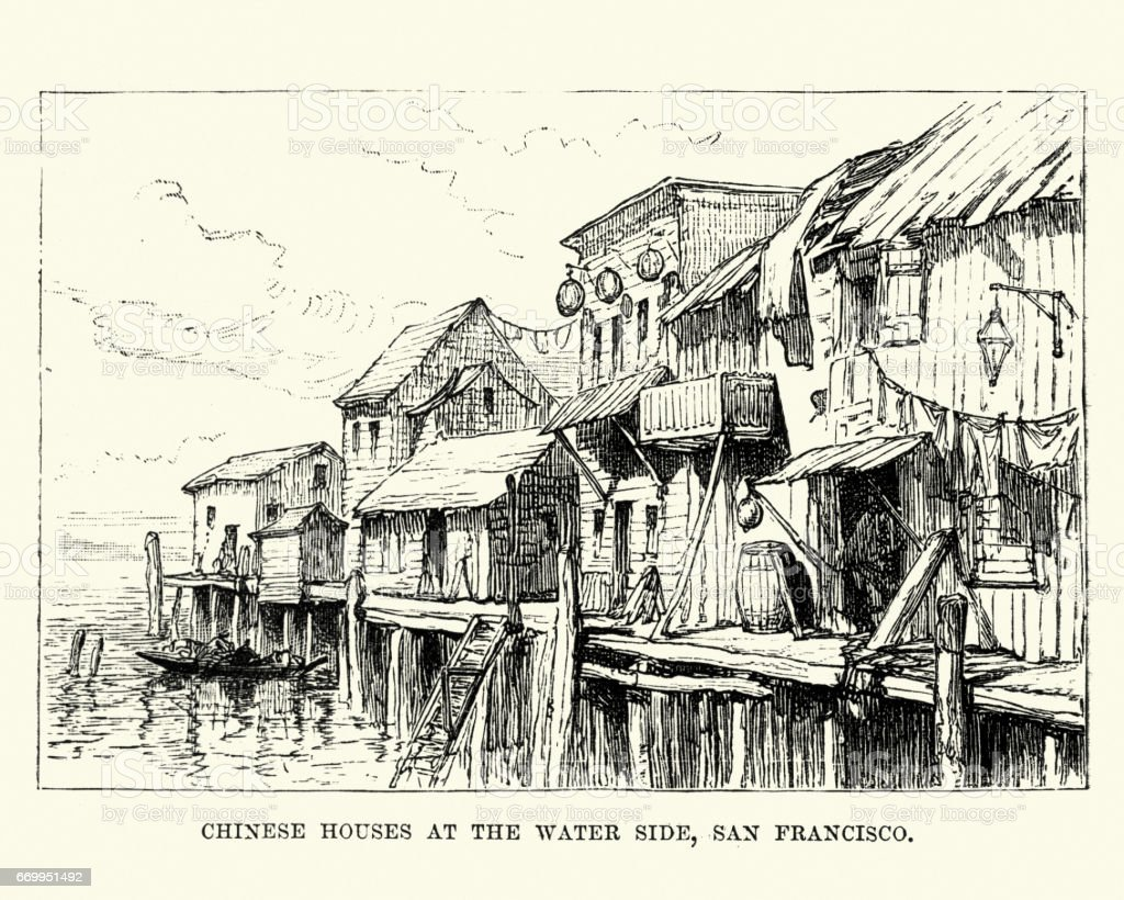 Chinese Houses,Water side, San Francisco, 19th Century vector art illustration
