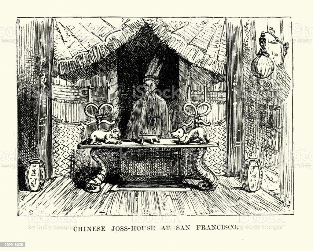 Chinese Joss House, San Francisco, 19th Century vector art illustration