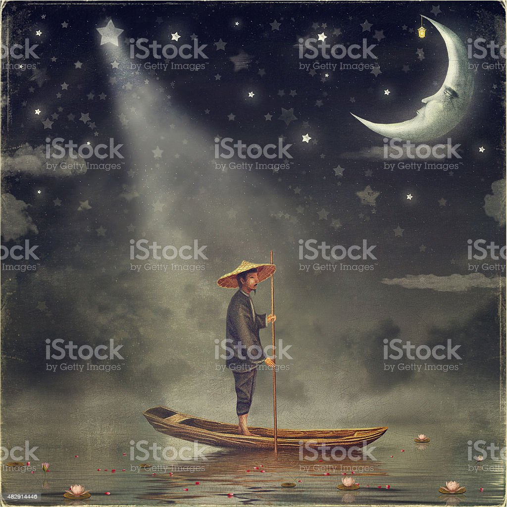 Chinese man  stands in boat vector art illustration
