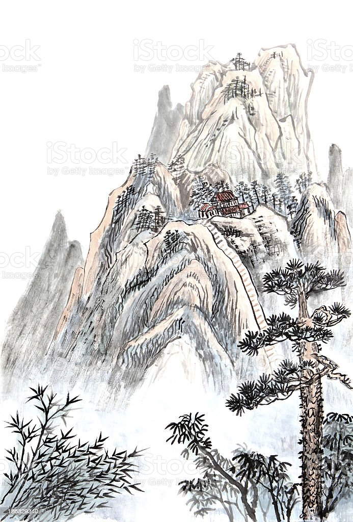 Chinese painting illustration of a house on a high mountain vector art illustration