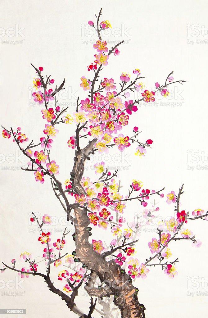 Chinese painting of flowers, plum blossom vector art illustration