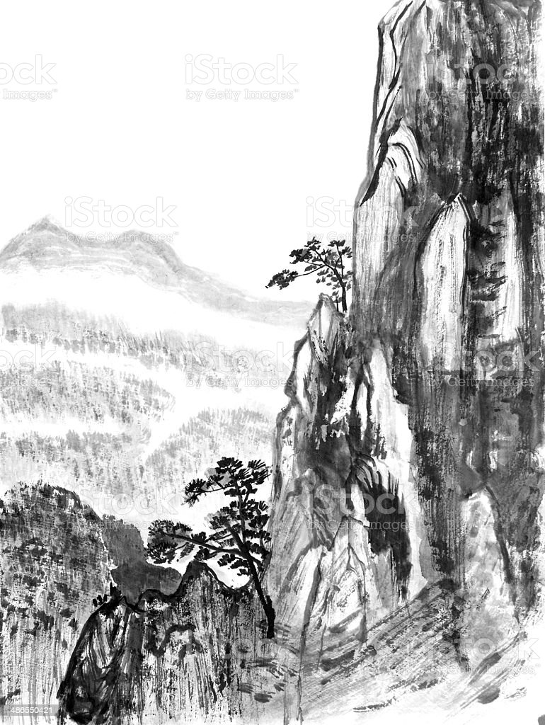 Chinese painting of high mountain vector art illustration