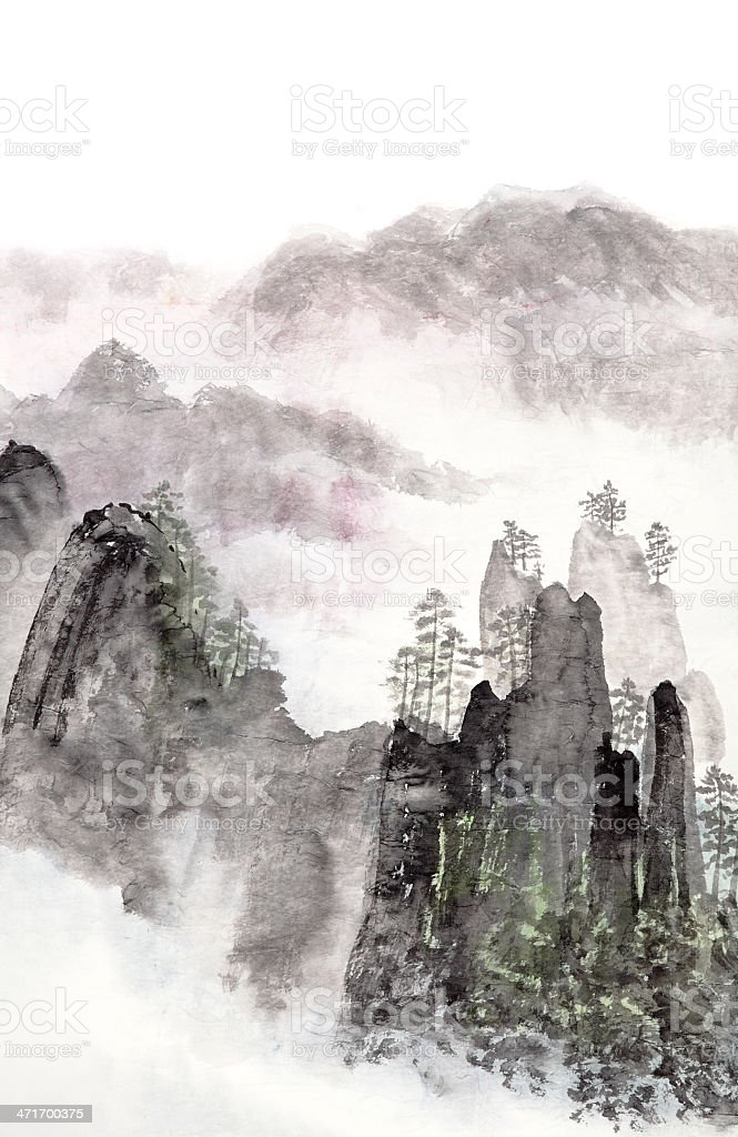 Chinese painting of high mountains landscape vector art illustration
