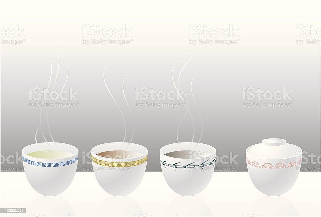 Chinese Tea party vector art illustration