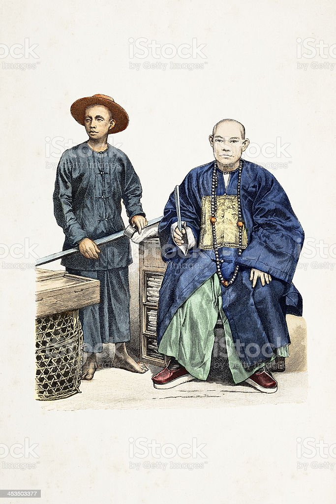 Chinese worker and merchant in traditional clothing from 1870 royalty-free stock vector art