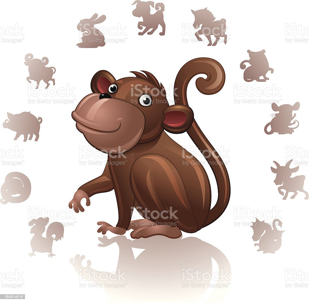 Chinese Zodiac Sign Monkey royalty-free stock vector art