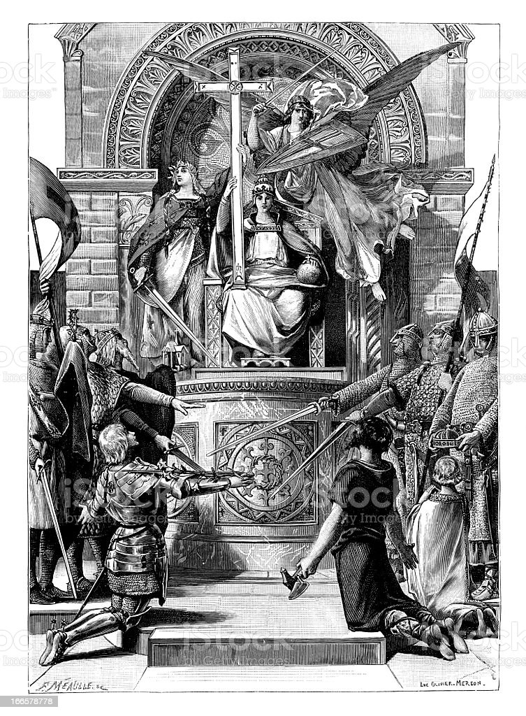 Chivalry in Heaven, History & Legend - Antique Engraving vector art illustration