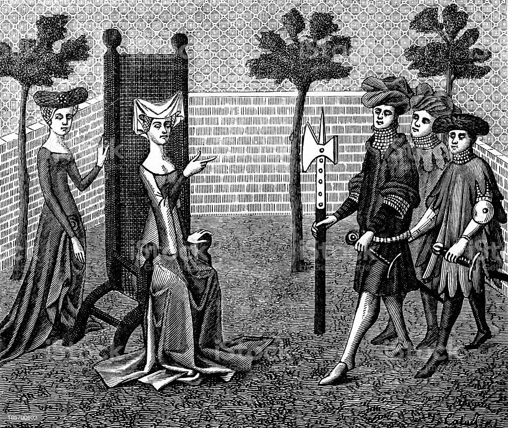 Chivalry in the 15th Century vector art illustration