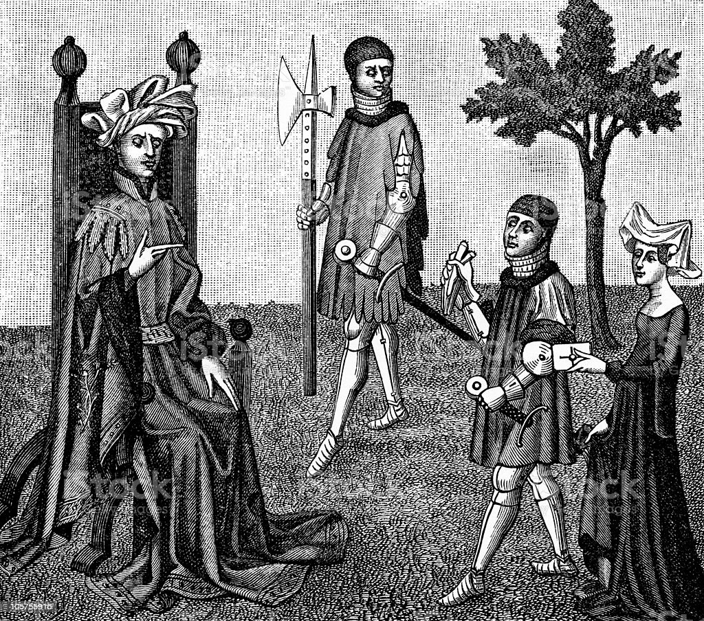 Chivalry in the 15th Century vector art illustration