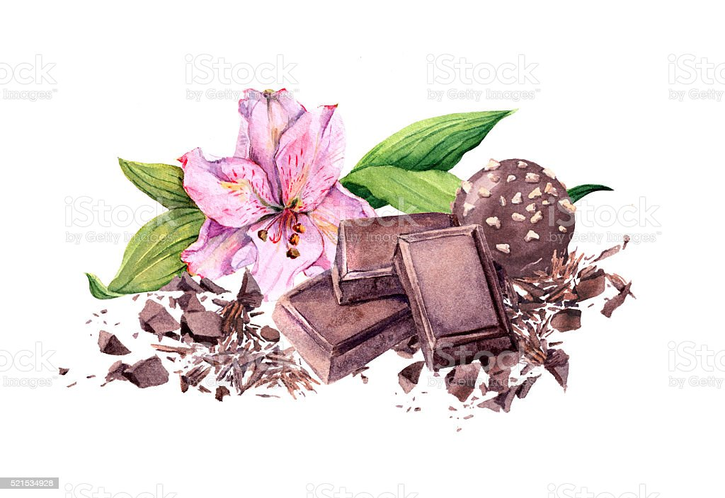 Chocolate block, chocolate candy and flower. Watercolor vector art illustration