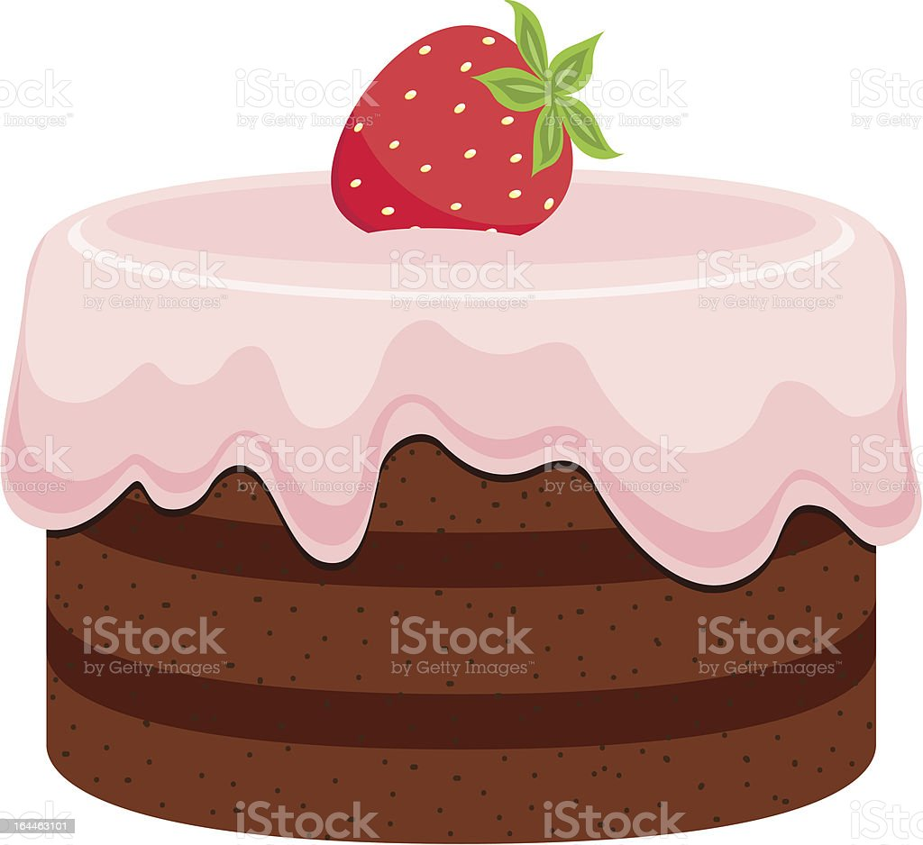 Chocolate cake with pink cream and strawberry royalty-free stock vector art