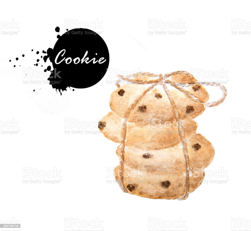 Chocolate chip cookies tied with brown rope vector art illustration