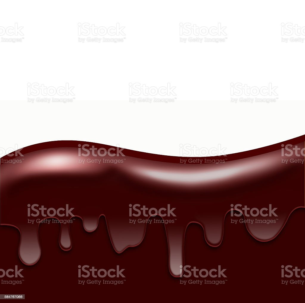 Chocolate Dripping, Wave from Liquid  Chocolate, area for text vector art illustration