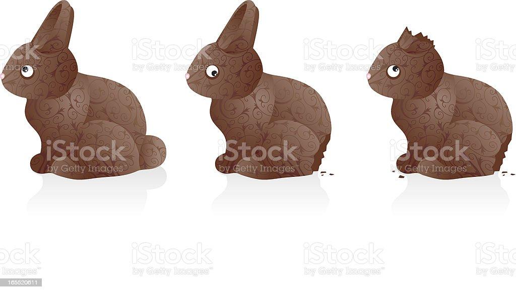 Chocolate Easter Bunnies vector art illustration