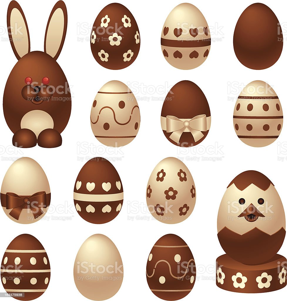 Chocolate Easter figures and eggs royalty-free stock vector art