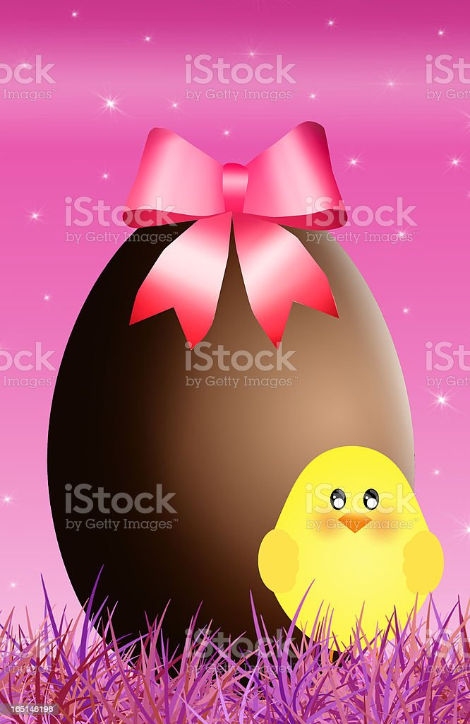 chocolate egg with chick royalty-free stock vector art