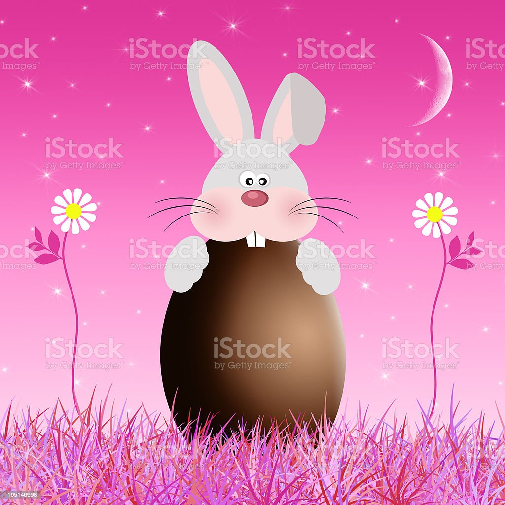 chocolate egg with rabbit royalty-free stock vector art