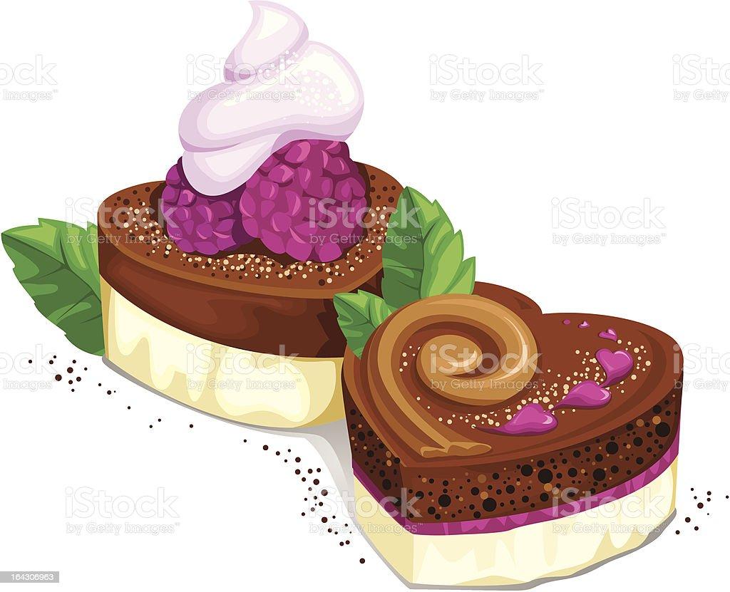 Chocolate heart-shaped cupcakes royalty-free stock vector art