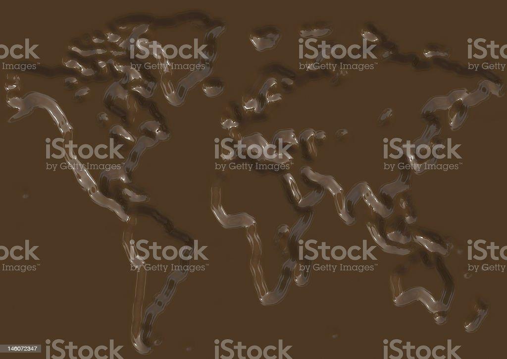 Chocolate world map illustration royalty-free stock vector art