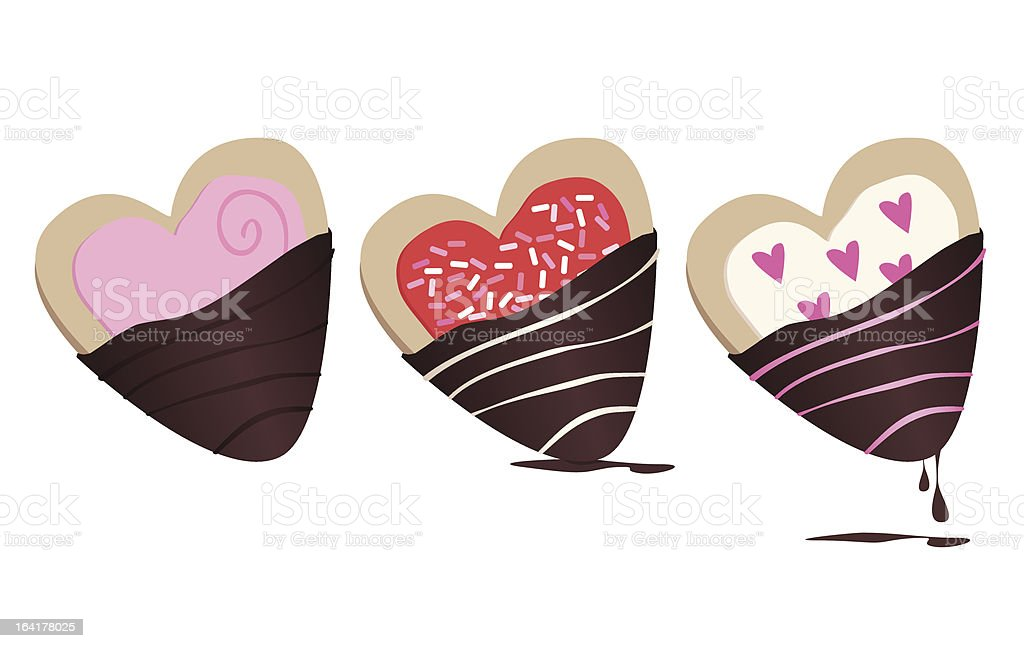 Chocolate-dipped Cookies royalty-free stock vector art