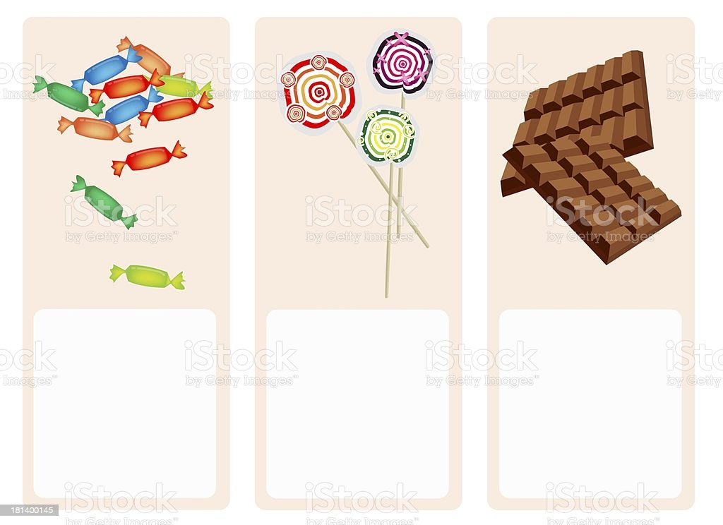 Chocolates, Lollipops and Hard Candy on Lovely Background royalty-free stock vector art
